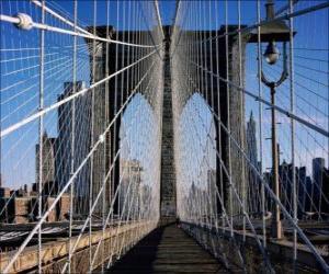 Puzzle Pont suspendu sur le fleuve, à New York
