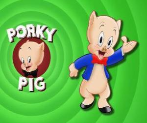 Puzzle Porky  le Cochon, un personnage de dessin animé dans Loonely Tunes de la Warner Bros