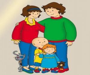 Puzzle Portrait de famille du Caillou, sa petite sœur Rosie, son père Boris, sa mère Doris et Gilbert le chat