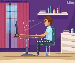 Puzzle Position correcte devant l'ordinateur