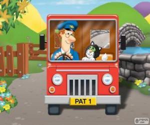 Puzzle Postman Pat avec son chat Jess dans la distribution du courrier