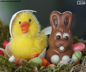 Puzzle Poulet et lapin de Pâques