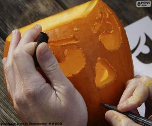 Puzzle Préparer la citrouille d'Halloween