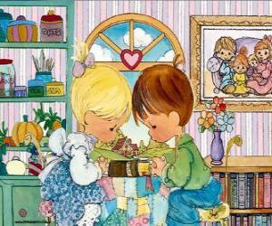 Puzzle Prière garçon et une fille. Precious Moments