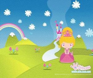 Puzzle Princesse avec le château en arrière-plan
