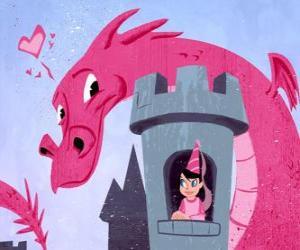 Puzzle Princesse dans son château surveillé par un grand dragon