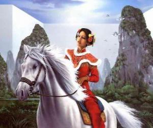 Puzzle Princesse sur un cheval magnifique