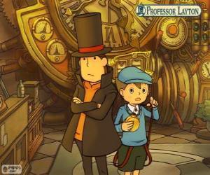 Puzzle Professeur Layton et son assistant Luke Triton, principaux protagonistes des jeux mystère et énigme pour Nintendo