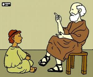 Puzzle Professeur ou enseignant, assis sur un tabouret, d'enseigner un jeune garçon, assis sur le plancher
