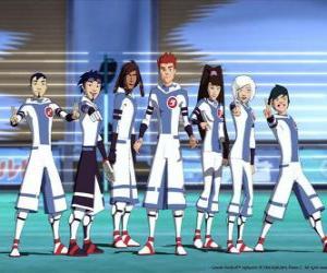 Puzzle Protagonistas de las aventuras de Fútbol Galáctico, algunos de los jugadores del equipo Snow Kids del planeta Akillian
