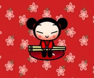 Puzzle Pucca avec les baguettes sur un fond floral