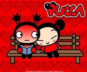 Puzzle Pucca et Garu assis sur un banc de parc