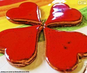 Puzzle Quatrième coeurs rouges