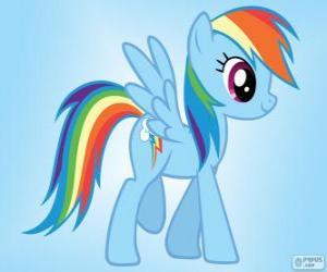 Puzzle Rainbow Dash, un poney pégase avec la queue de l'arc-en-ciel