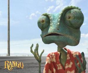 Puzzle Rango est un animal de compagnie caméléon qui vit dans un terrarium et se termine dans le désert