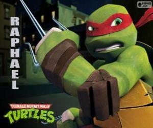 Puzzle Raphaël, la tortue Ninja plus agressif avec ses armes à la main, une paire de Sai, un poignard à trois volets