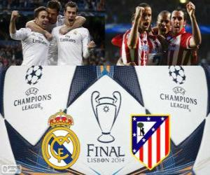 Puzzle Real Madrid vs Atletico. Finale de l'UEFA Champions League 2013-2014. Estadio da Luz, Lisbonne, Portugal