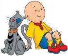 Caillou assis sur le plancher avec sa chat Gilbert
