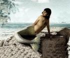 Sirène assis sur un rocher au bord de la mer