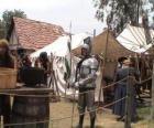 Guerrero protégés avec des armures et des casques et armés