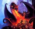 Dragon en jetant feu de la bouche