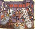 Scène d'un repas médiéval dans le salon du château ou le palais