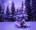 Sapins de Noël dans un paysage enneigé avec la lune dans le ciel