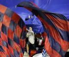 Osasuna drapeau est rouge et bleu marine
