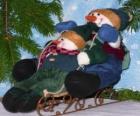Bonhommes de neige de traîneau à