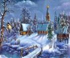 Eglise à Noël avec le sapin sous les étoiles