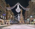 Rue décorée pour Noël