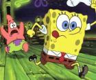 Bob l'éponge et son ami, Patrick l'étoile en cours d'exécution
