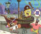 Bob l'Eponge et certains de ses amis jugando a ser piratas