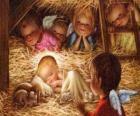L'Enfant Jésus dans la crèche avec la protection d'un ange