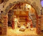 Principale scène de la Nativité avec la Sainte Famille dans une grange
