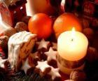 Bougie de Noël allumée