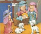 Jésus dans la crèche avec Joseph, Marie et un berger avec ses moutons