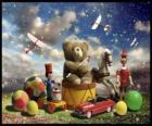 Un ours en peluche assis sur un tambour, des balles et d'autres précieux cadeaux de Noël