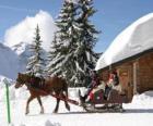 Une famille dans un traîneau tiré par un cheval pour Noël
