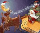 Traîneau de Noël tiré par des rennes magiques et chargés de cadeaux, le Père Noël et un elfe