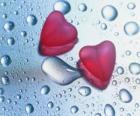 Deux coeurs rouges et les gouttes de pluie