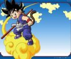 Goku au guidon de sa Kinton nuage qui peut voler à haute vitesse