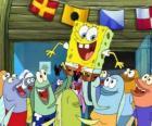 Bob l'Eponge saluée par les habitants de Bikini Bottom