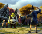 Shrek, l'ogre avec ses amis, l'âne, le Chat Botté et Arthur, Merlin regarder