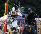Deux chevaliers à cheval participant à un tournoi