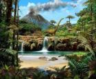 Beau paysage avec les dinosaures