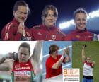 Nadezhda Ostapchuk tir champion mis, et Anna Natallia Mikhnevich Avdeev (2e et 3e) dans la Barcelona Championnats d'Europe d'athlétisme 2010