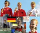 Betty Heidler champion au lancer du marteau, Tatiana Lysenko et Anita Włodarczyk (2e et 3e) de l'athlétisme européen de Barcelone 2010