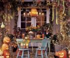 porche décoré pour l'Halloween