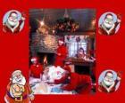 Santa Claus à partir de la lecture des lettres des enfants qu'il a reçus pour Noël